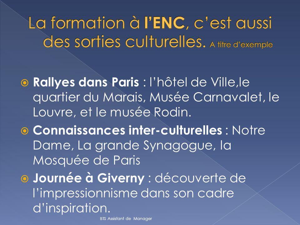 Rallyes dans Paris : lhôtel de Ville,le quartier du Marais, Musée Carnavalet, le Louvre, et le musée Rodin. Connaissances inter-culturelles : Notre Da
