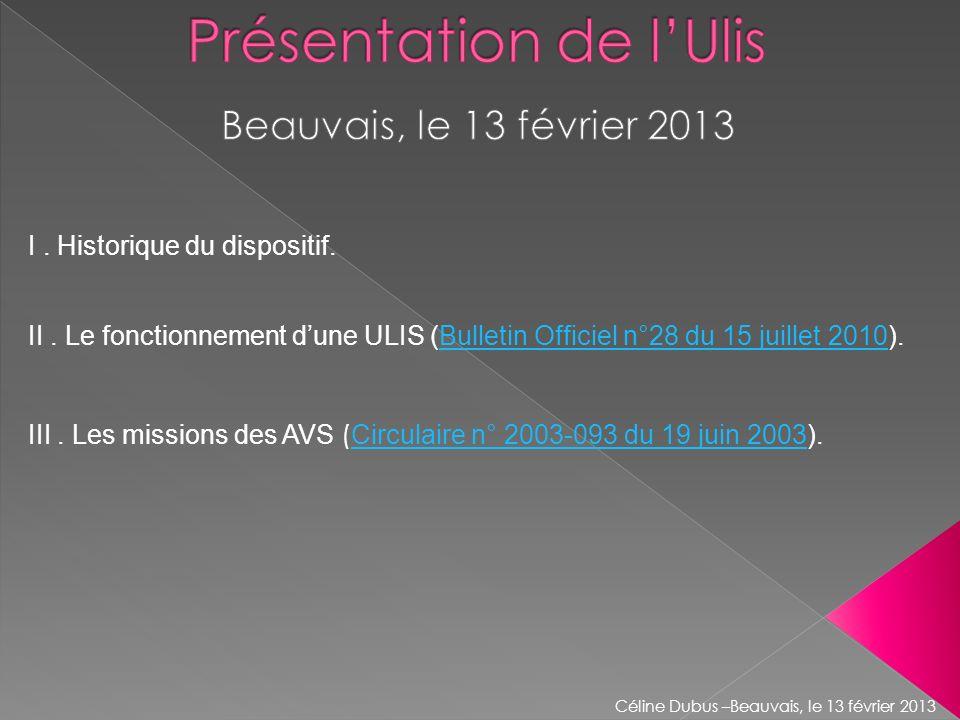 II. Le fonctionnement dune ULIS (Bulletin Officiel n°28 du 15 juillet 2010).Bulletin Officiel n°28 du 15 juillet 2010 III. Les missions des AVS ( Circ