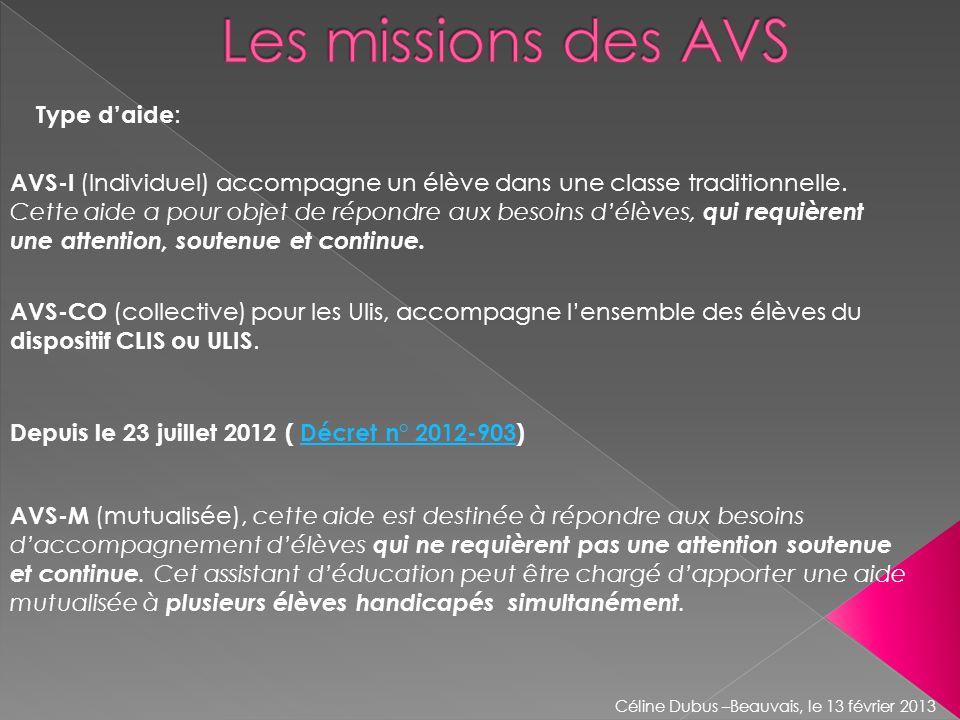 AVS-CO (collective) pour les Ulis, accompagne lensemble des élèves du dispositif CLIS ou ULIS. AVS-I (Individuel) accompagne un élève dans une classe