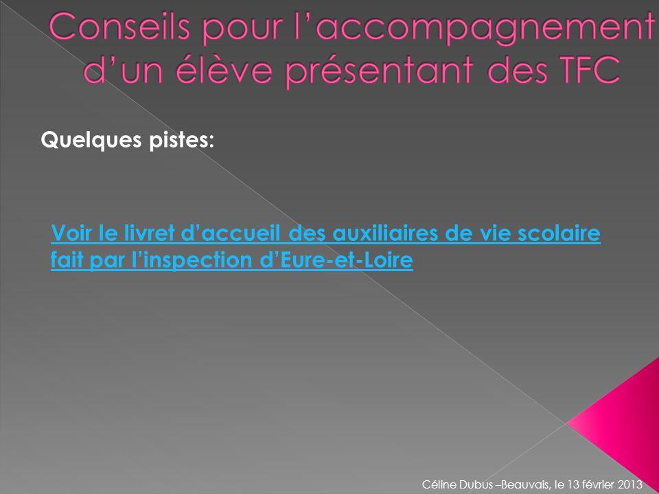 Quelques pistes: Céline Dubus –Beauvais, le 13 février 2013 Voir le livret daccueil des auxiliaires de vie scolaire fait par linspection dEure-et-Loir