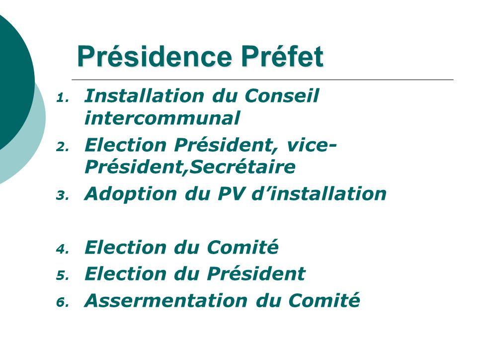 Présidence Préfet 1. Installation du Conseil intercommunal 2. Election Président, vice- Président,Secrétaire 3. Adoption du PV dinstallation 4. Electi