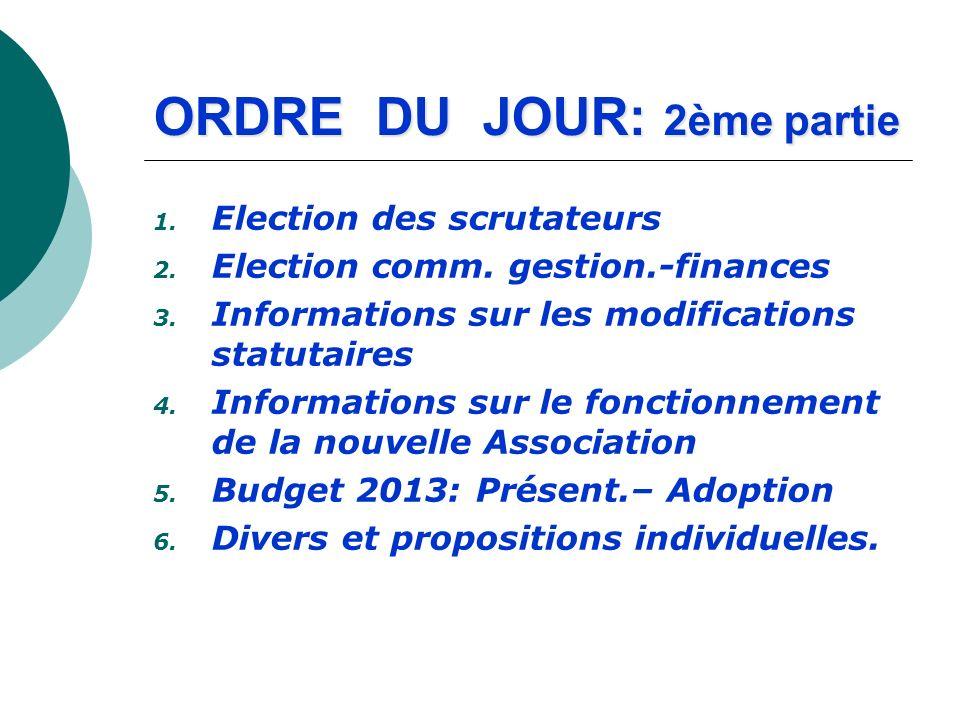 ORDRE DU JOUR: 2ème partie 1. Election des scrutateurs 2. Election comm. gestion.-finances 3. Informations sur les modifications statutaires 4. Inform