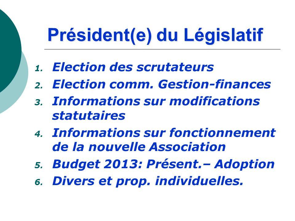 Président(e) du Législatif 1. Election des scrutateurs 2. Election comm. Gestion-finances 3. Informations sur modifications statutaires 4. Information
