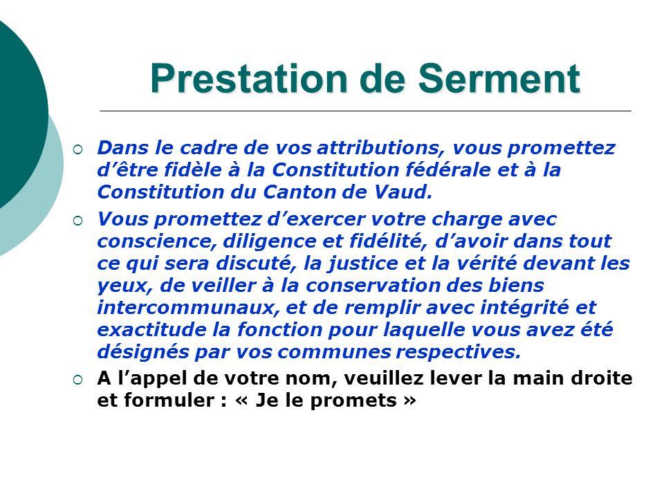 Prestation de Serment Dans le cadre de vos attributions, vous promettez dêtre fidèle à la Constitution fédérale et à la Constitution du Canton de Vaud