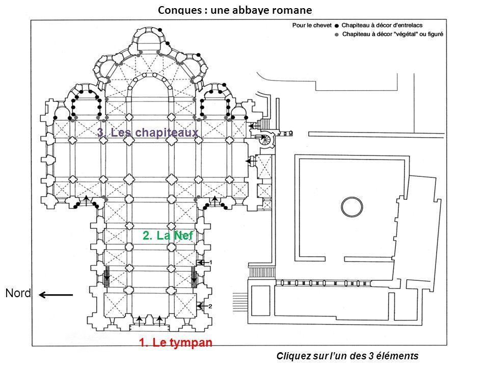 Conques : une abbaye romane 1. Le tympan 2. La Nef 3. Les chapiteaux Nord Cliquez sur lun des 3 éléments
