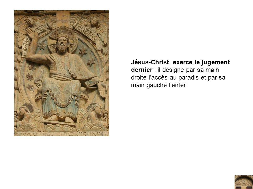 Jésus-Christ exerce le jugement dernier : il désigne par sa main droite laccès au paradis et par sa main gauche lenfer.