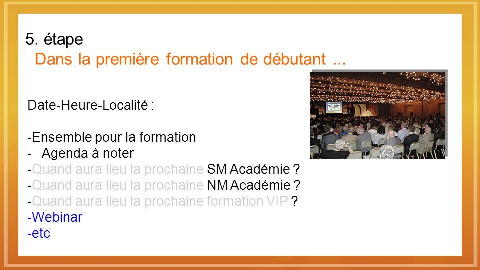 5. étape Dans la première formation de débutant... Date-Heure-Localité : Ensemble pour la formation - Agenda à noter Quand aura lieu la prochaine SM A