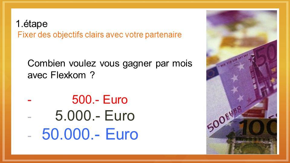 1.étape Fixer des objectifs clairs avec votre partenaire Combien voulez vous gagner par mois avec Flexkom ? - 500.- Euro - 5.000.- Euro - 50.000.- Eur