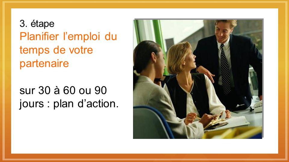 3. étape Planifier lemploi du temps de votre partenaire sur 30 à 60 ou 90 jours : plan daction.