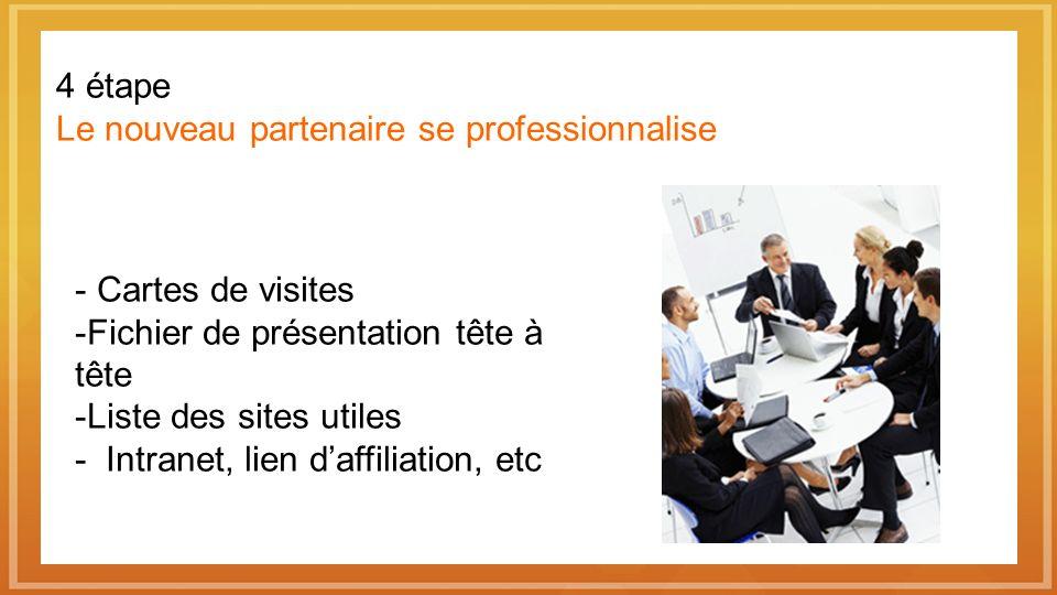 4 étape Le nouveau partenaire se professionnalise Cartes de visites Fichier de présentation tête à tête Liste des sites utiles - Intranet, lien daffiliation, etc