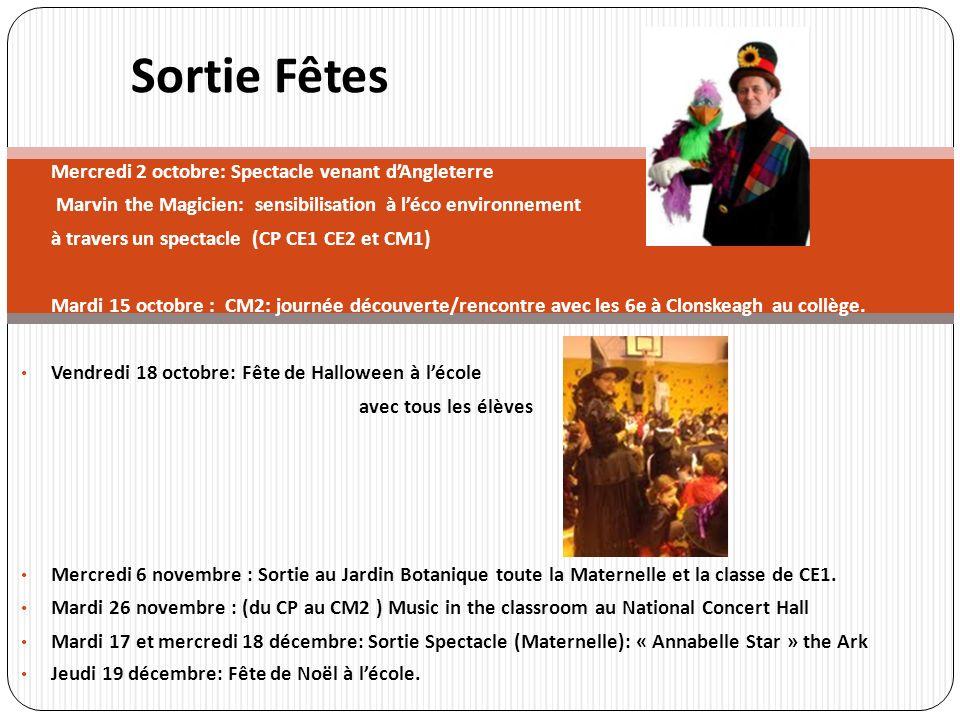 Mercredi 2 octobre: Spectacle venant dAngleterre Marvin the Magicien: sensibilisation à léco environnement à travers un spectacle (CP CE1 CE2 et CM1)