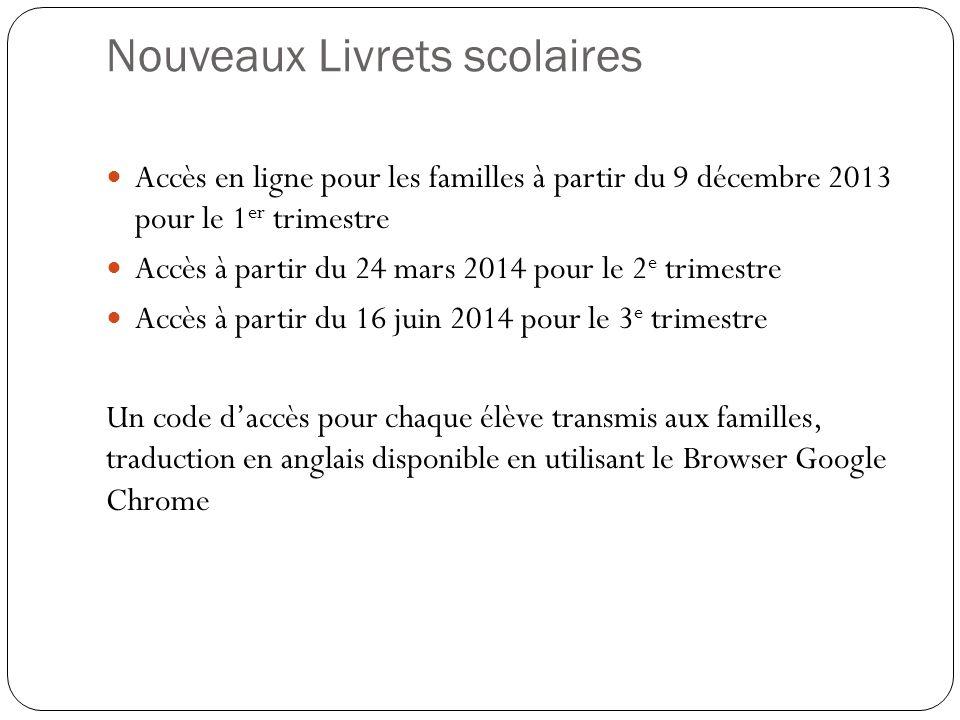 Nouveaux Livrets scolaires Accès en ligne pour les familles à partir du 9 décembre 2013 pour le 1 er trimestre Accès à partir du 24 mars 2014 pour le