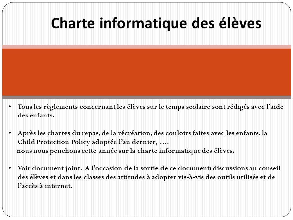 r Charte informatique des élèves Tous les règlements concernant les élèves sur le temps scolaire sont rédigés avec laide des enfants.