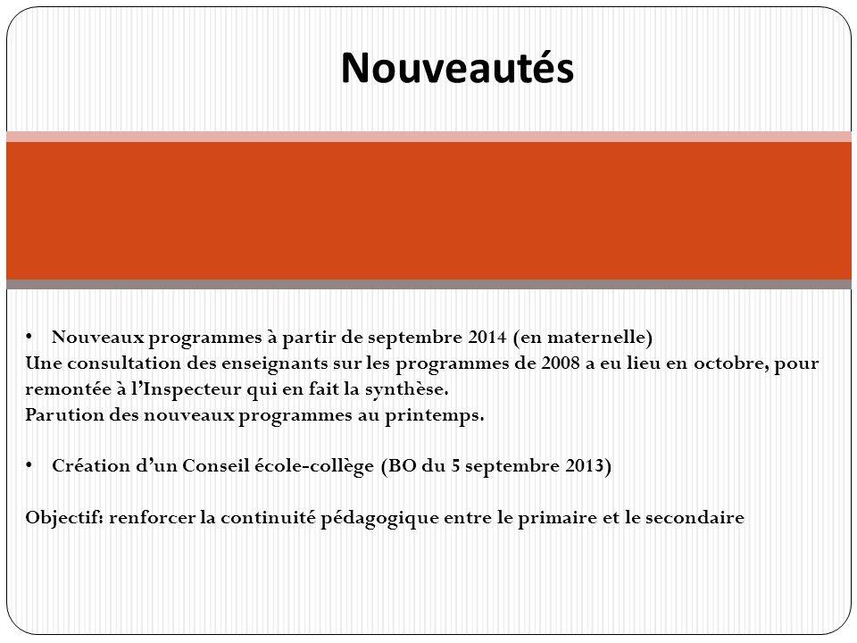 r Nouveautés Nouveaux programmes à partir de septembre 2014 (en maternelle) Une consultation des enseignants sur les programmes de 2008 a eu lieu en octobre, pour remontée à lInspecteur qui en fait la synthèse.