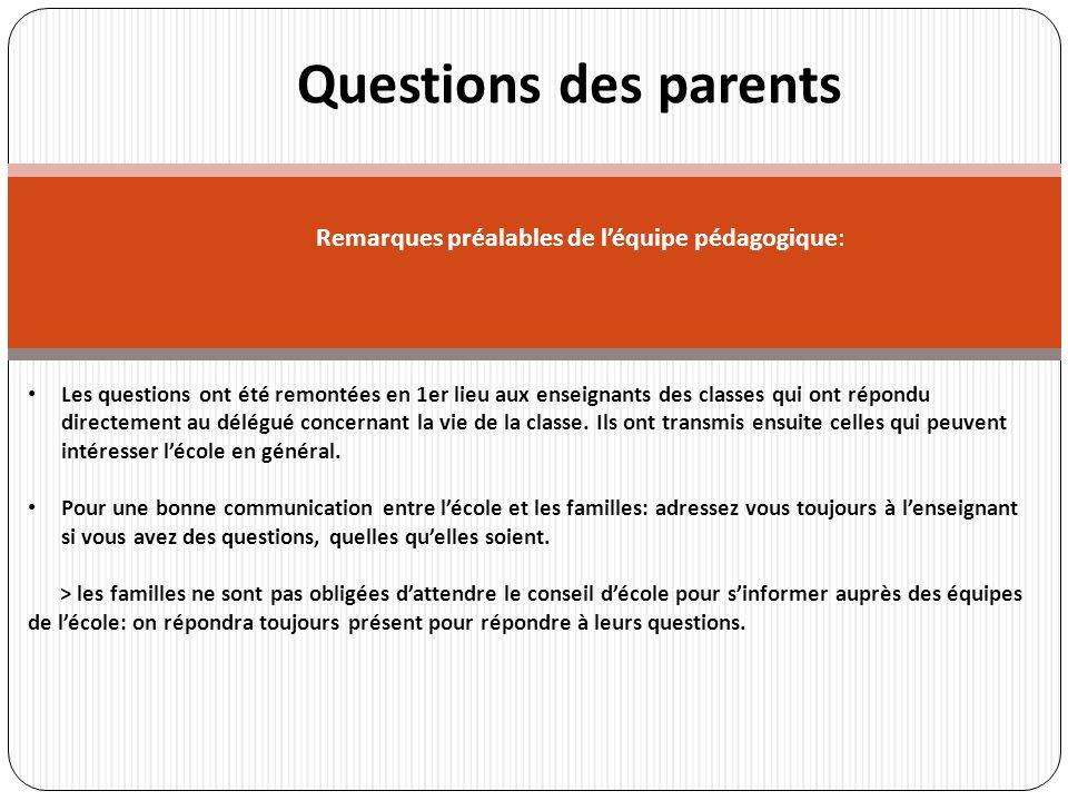 r Questions des parents Les questions ont été remontées en 1er lieu aux enseignants des classes qui ont répondu directement au délégué concernant la vie de la classe.
