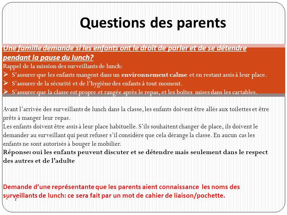 r Questions des parents Une famille demande si les enfants ont le droit de parler et de se détendre pendant la pause du lunch.