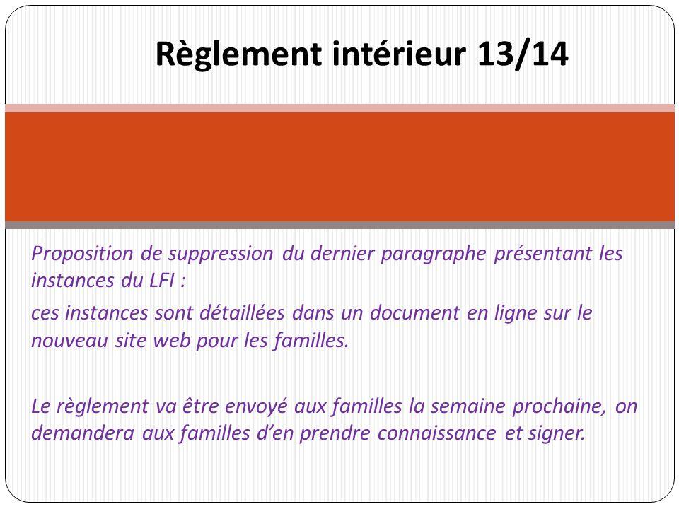Proposition de suppression du dernier paragraphe présentant les instances du LFI : ces instances sont détaillées dans un document en ligne sur le nouveau site web pour les familles.