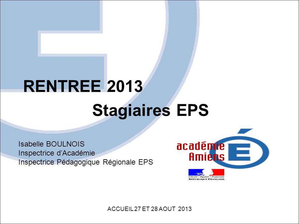 RENTREE 2013 Stagiaires EPS ACCUEIL 27 ET 28 AOUT 2013 Isabelle BOULNOIS Inspectrice dAcadémie Inspectrice Pédagogique Régionale EPS