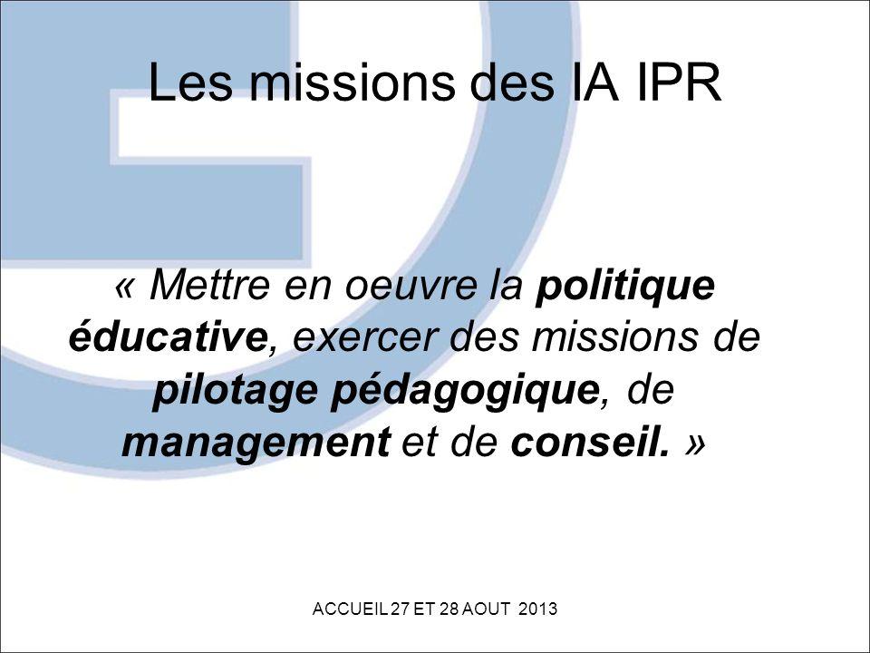 Les missions des IA IPR « Mettre en oeuvre la politique éducative, exercer des missions de pilotage pédagogique, de management et de conseil. » ACCUEI