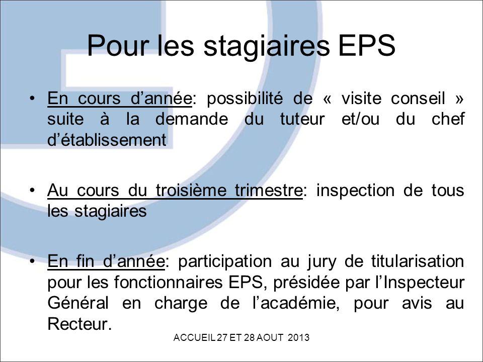 Pour les stagiaires EPS En cours dannée: possibilité de « visite conseil » suite à la demande du tuteur et/ou du chef détablissement Au cours du trois