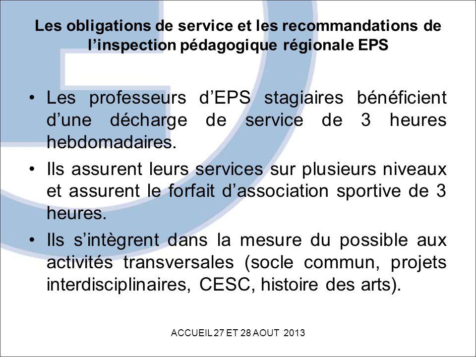 Les obligations de service et les recommandations de linspection pédagogique régionale EPS Les professeurs dEPS stagiaires bénéficient dune décharge d
