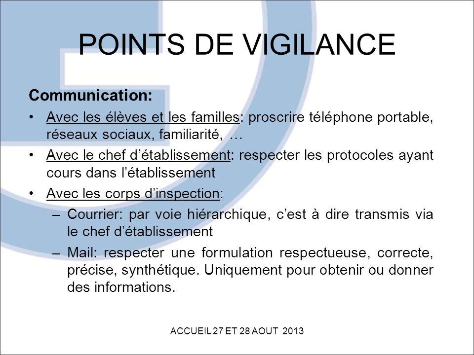 POINTS DE VIGILANCE Communication: Avec les élèves et les familles: proscrire téléphone portable, réseaux sociaux, familiarité, … Avec le chef détabli