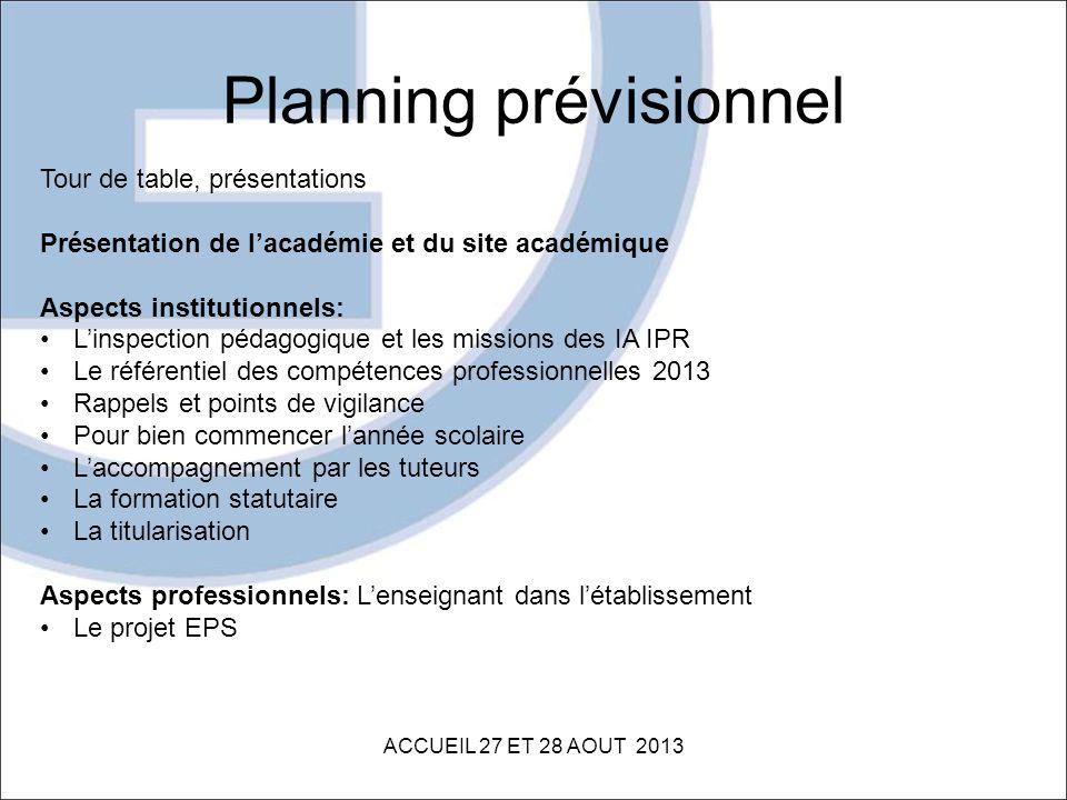 Planning prévisionnel ACCUEIL 27 ET 28 AOUT 2013 Tour de table, présentations Présentation de lacadémie et du site académique Aspects institutionnels: