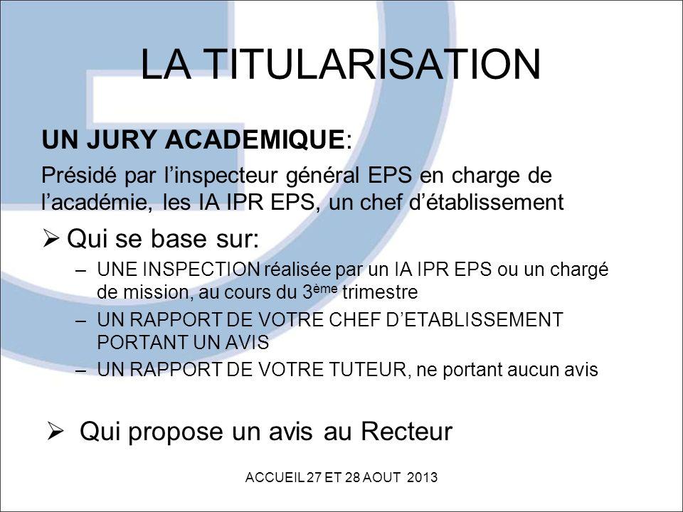 LA TITULARISATION UN JURY ACADEMIQUE: Présidé par linspecteur général EPS en charge de lacadémie, les IA IPR EPS, un chef détablissement Qui se base s