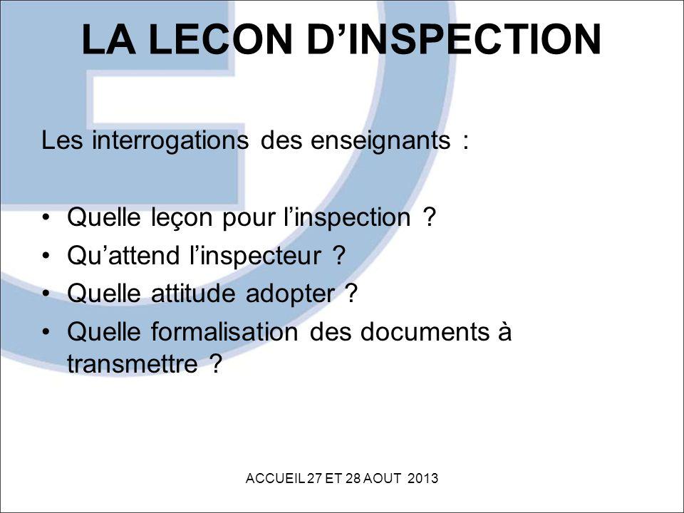 LA LECON DINSPECTION Les interrogations des enseignants : Quelle leçon pour linspection ? Quattend linspecteur ? Quelle attitude adopter ? Quelle form