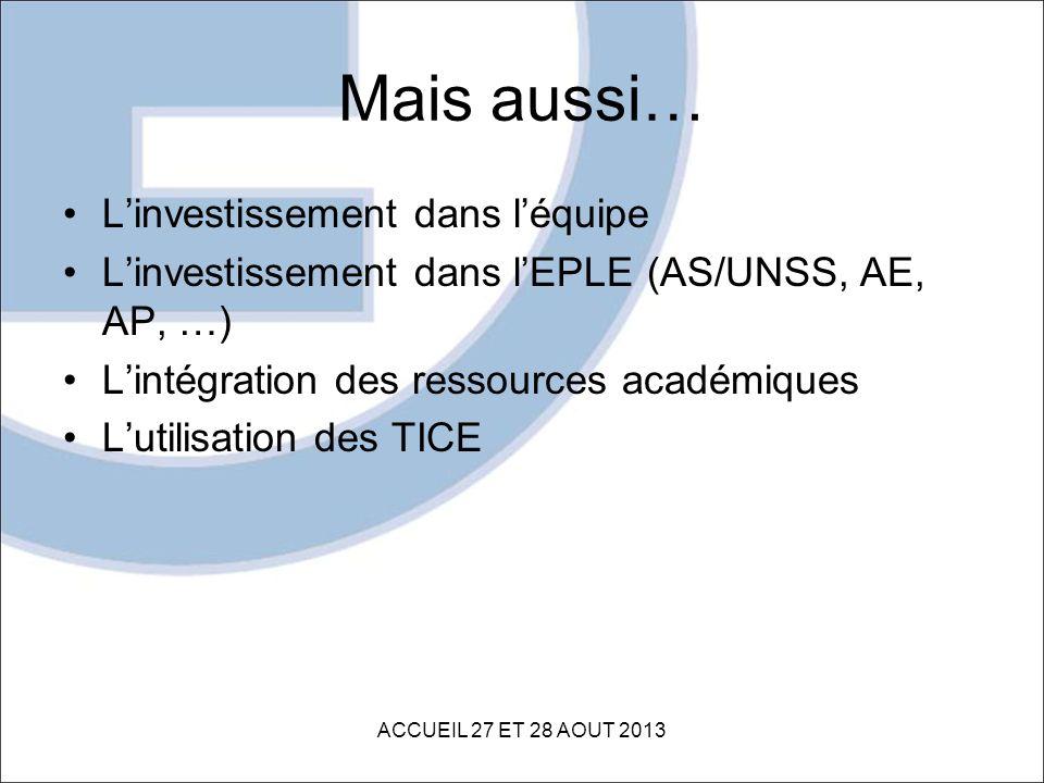 Mais aussi… Linvestissement dans léquipe Linvestissement dans lEPLE (AS/UNSS, AE, AP, …) Lintégration des ressources académiques Lutilisation des TICE