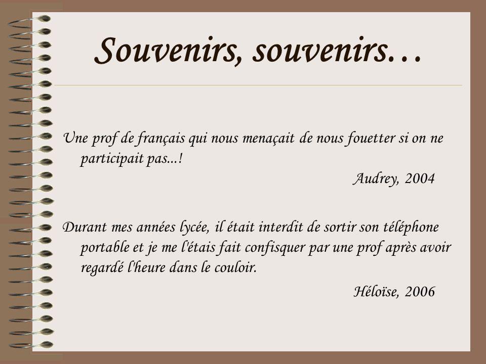Souvenirs, souvenirs… Une prof de français qui nous menaçait de nous fouetter si on ne participait pas...! Audrey, 2004 Durant mes années lycée, il ét
