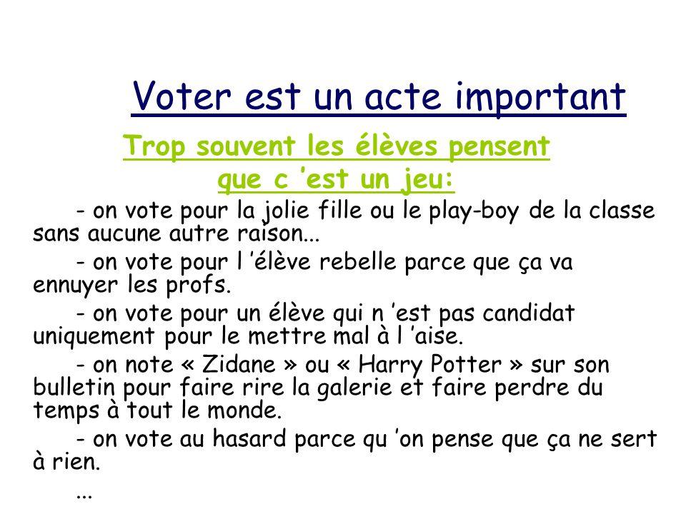Voter est un acte important Trop souvent les élèves pensent que c est un jeu: - on vote pour la jolie fille ou le play-boy de la classe sans aucune autre raison...