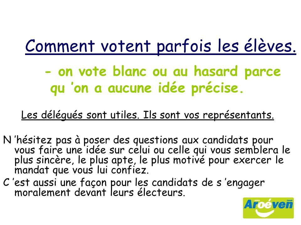 - on vote blanc ou au hasard parce qu on a aucune idée précise.