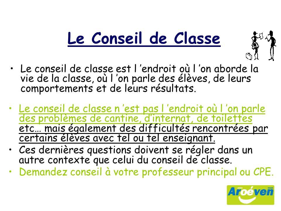 Le conseil de classe est l endroit où l on aborde la vie de la classe, où l on parle des élèves, de leurs comportements et de leurs résultats.