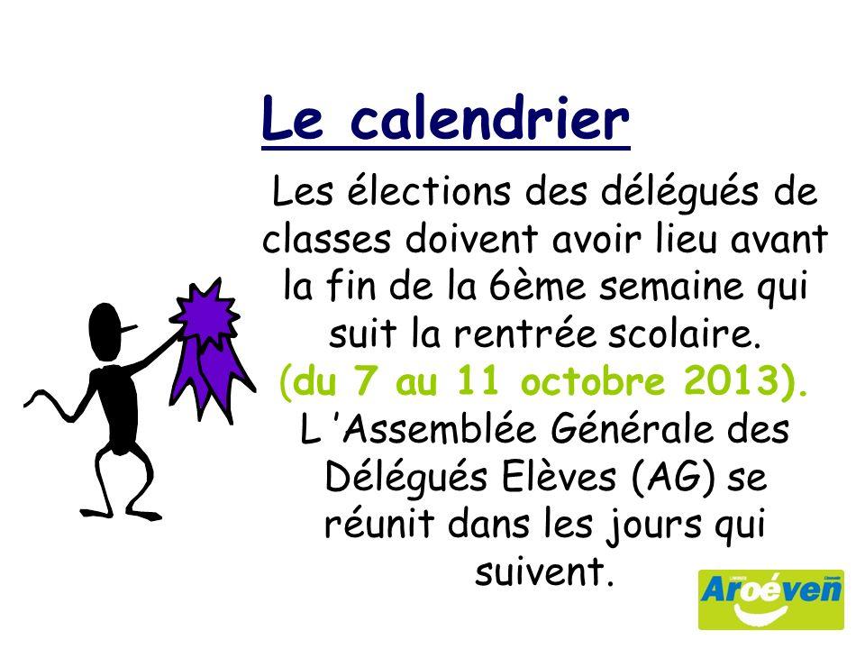 Le calendrier Les élections des délégués de classes doivent avoir lieu avant la fin de la 6ème semaine qui suit la rentrée scolaire.