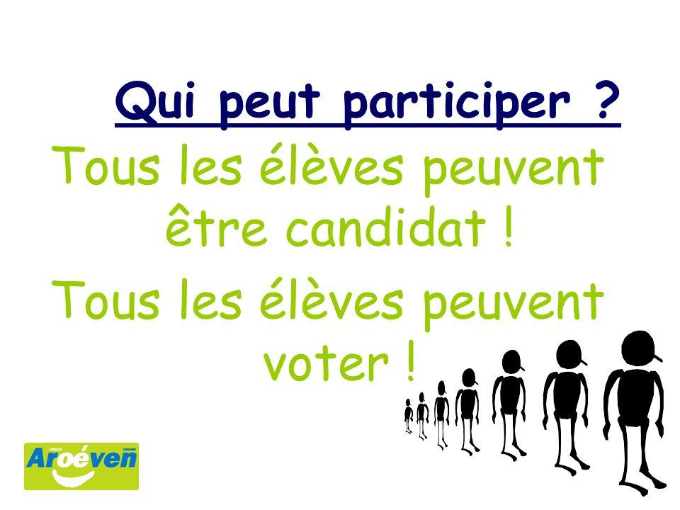 Qui peut participer ? Tous les élèves peuvent être candidat ! Tous les élèves peuvent voter !