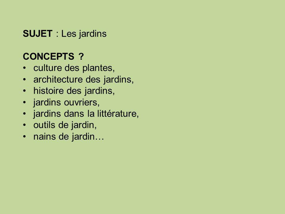 SUJET : Les jardins CONCEPTS .