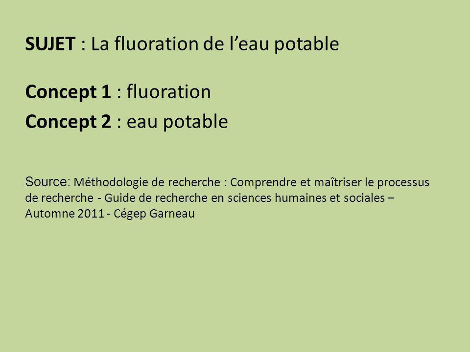 SUJET : La fluoration de leau potable Concept 1 : fluoration Concept 2 : eau potable Source: Méthodologie de recherche : Comprendre et maîtriser le processus de recherche - Guide de recherche en sciences humaines et sociales – Automne 2011 - Cégep Garneau