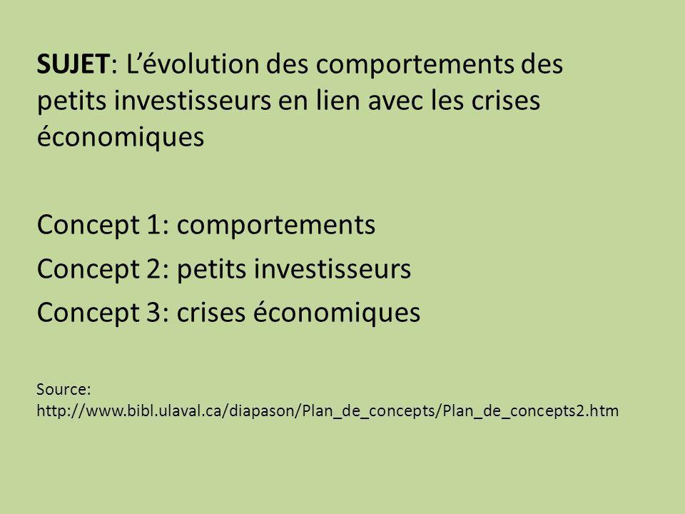 SUJET: Lévolution des comportements des petits investisseurs en lien avec les crises économiques Concept 1: comportements Concept 2: petits investisseurs Concept 3: crises économiques Source: http://www.bibl.ulaval.ca/diapason/Plan_de_concepts/Plan_de_concepts2.htm