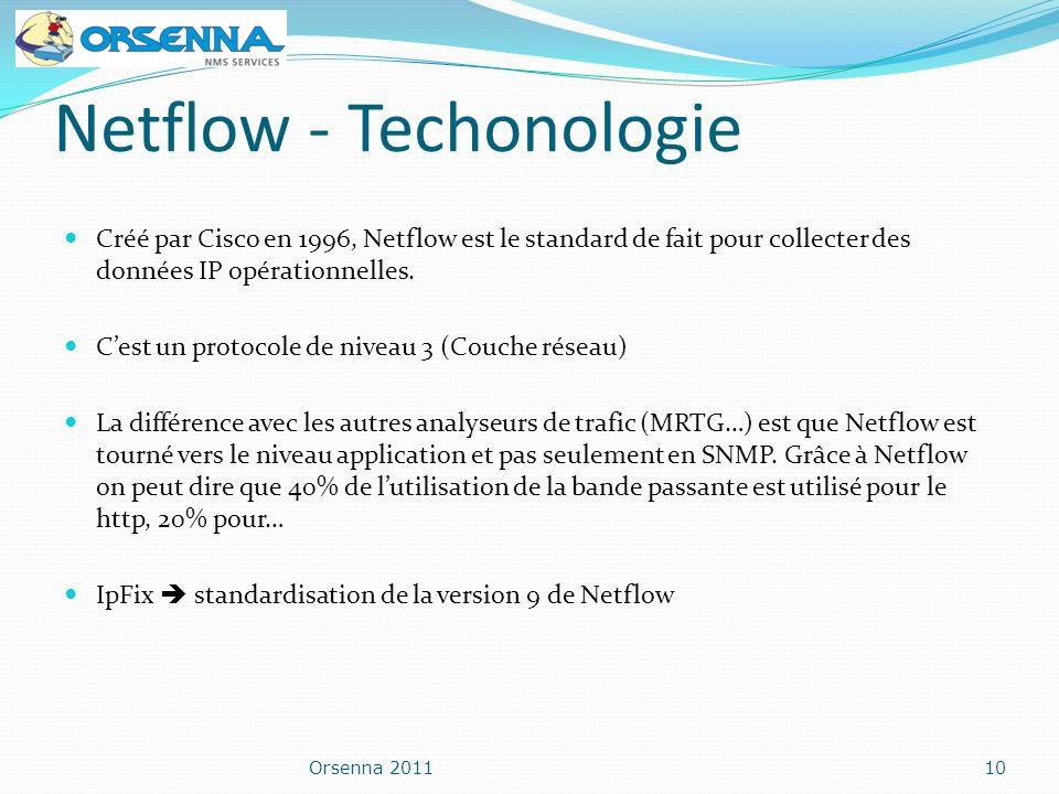 Netflow - Techonologie Créé par Cisco en 1996, Netflow est le standard de fait pour collecter des données IP opérationnelles. Cest un protocole de niv