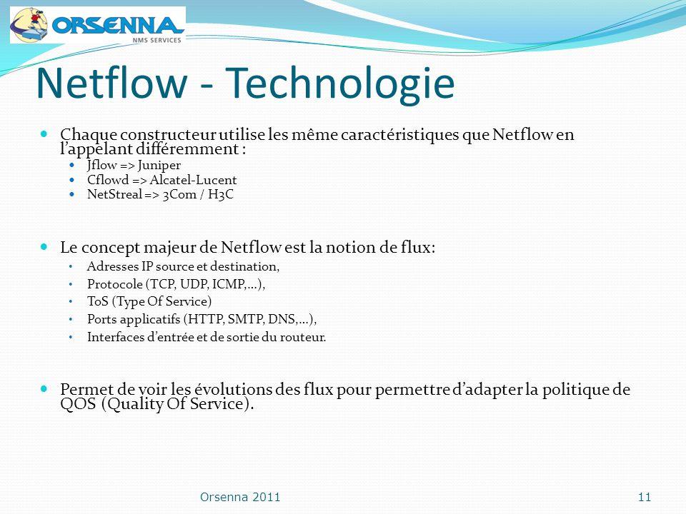 Netflow - Technologie Chaque constructeur utilise les même caractéristiques que Netflow en lappelant différemment : Jflow => Juniper Cflowd => Alcatel