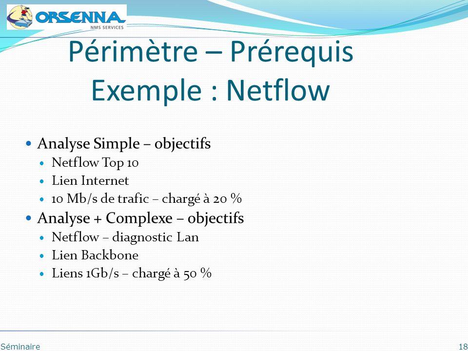 Séminaire18 Périmètre – Prérequis Exemple : Netflow Analyse Simple – objectifs Netflow Top 10 Lien Internet 10 Mb/s de trafic – chargé à 20 % Analyse