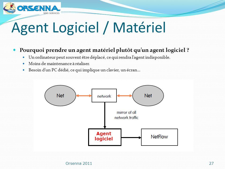 Agent Logiciel / Matériel Pourquoi prendre un agent matériel plutôt quun agent logiciel ? Un ordinateur peut souvent être déplacé, ce qui rendra lagen