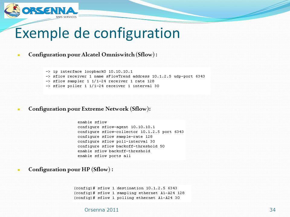 Exemple de configuration Orsenna 201134 Configuration pour Alcatel Omniswitch (Sflow) : Configuration pour Extreme Network (Sflow): Configuration pour