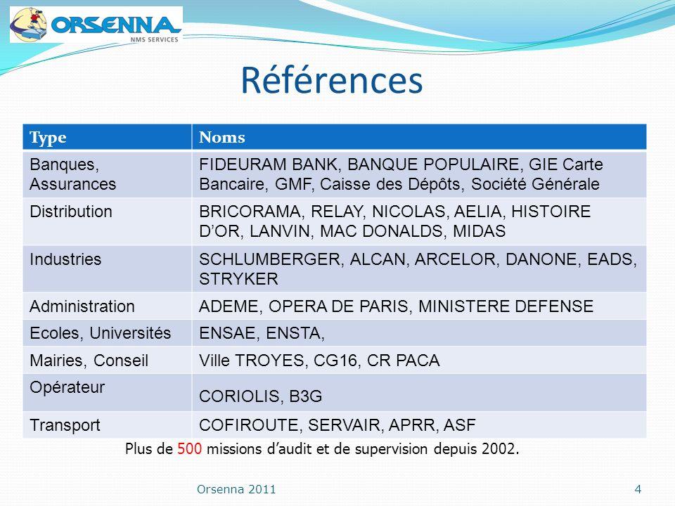 Orsenna 20114 Références Plus de 500 missions daudit et de supervision depuis 2002. TypeNoms Banques, Assurances FIDEURAM BANK, BANQUE POPULAIRE, GIE
