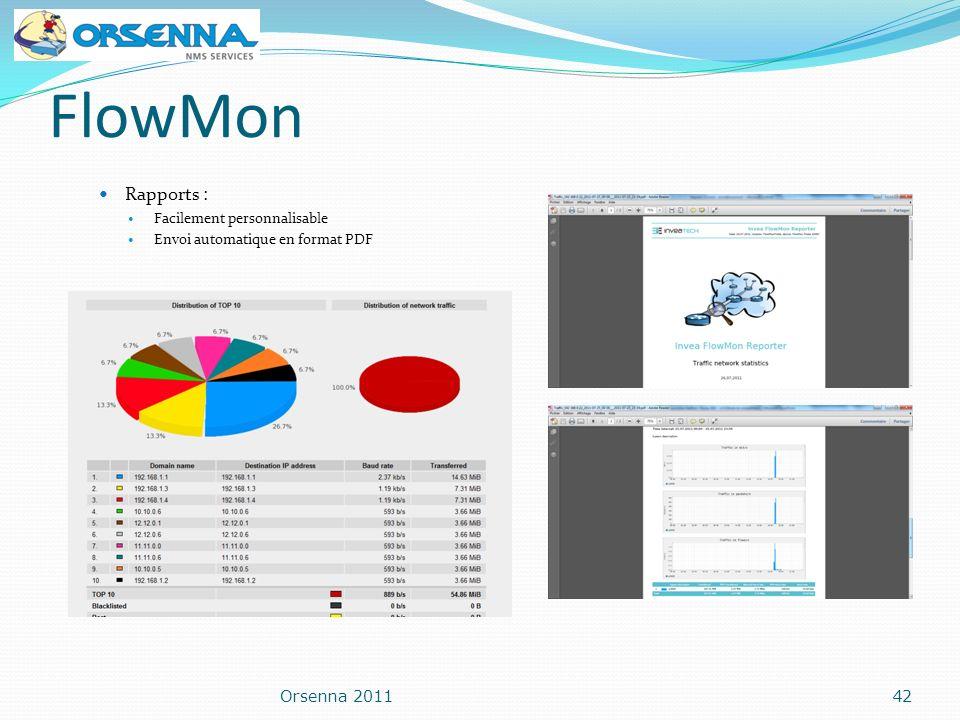 FlowMon Rapports : Facilement personnalisable Envoi automatique en format PDF Orsenna 201142