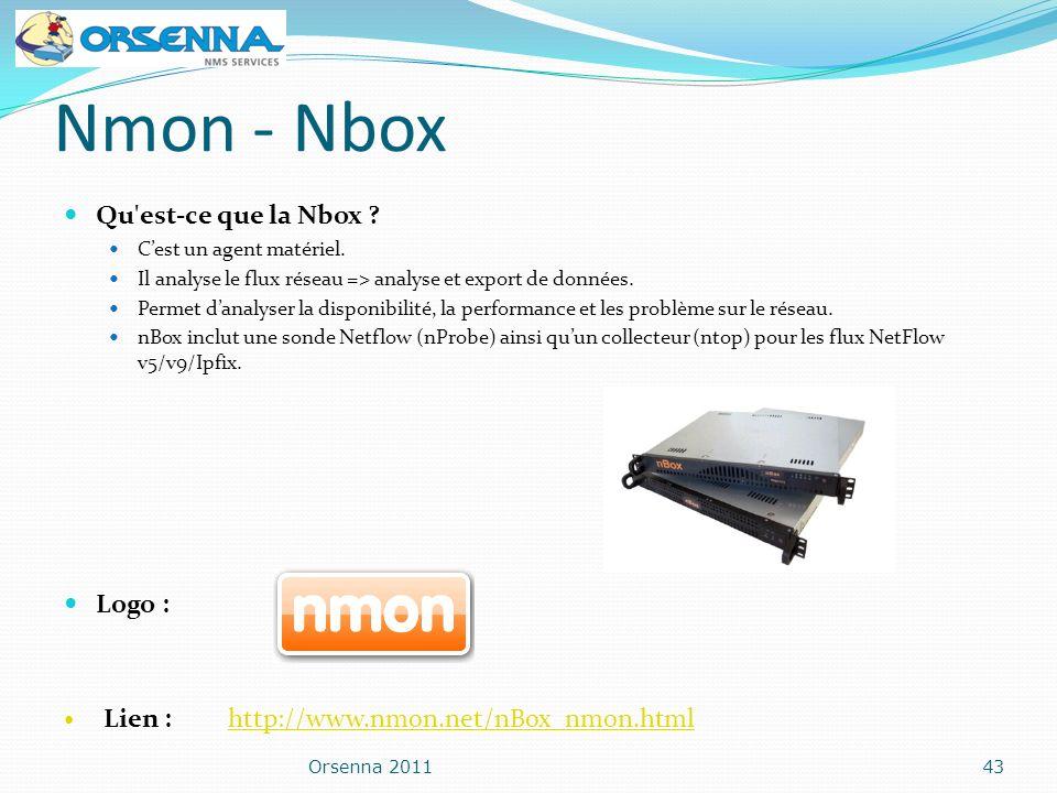 Nmon - Nbox Qu'est-ce que la Nbox ? Cest un agent matériel. Il analyse le flux réseau => analyse et export de données. Permet danalyser la disponibili