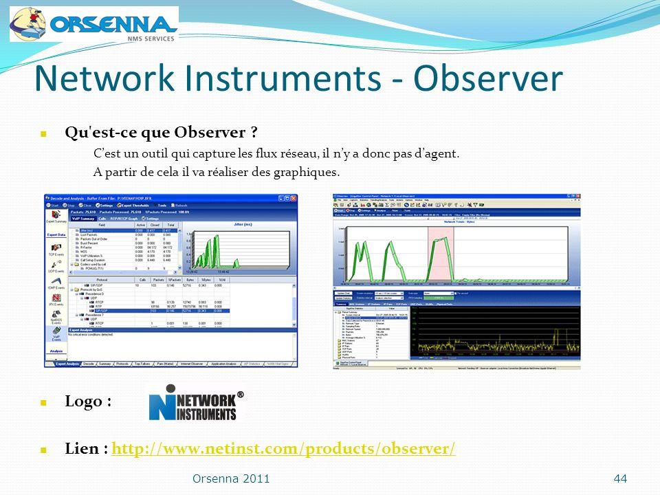 Network Instruments - Observer Orsenna 201144 Logo : Lien : http://www.netinst.com/products/observer/http://www.netinst.com/products/observer/ Qu'est-