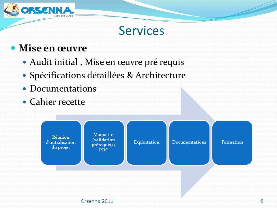 Orsenna 20116 Mise en œuvre Audit initial, Mise en œuvre pré requis Spécifications détaillées & Architecture Documentations Cahier recette Réunion din
