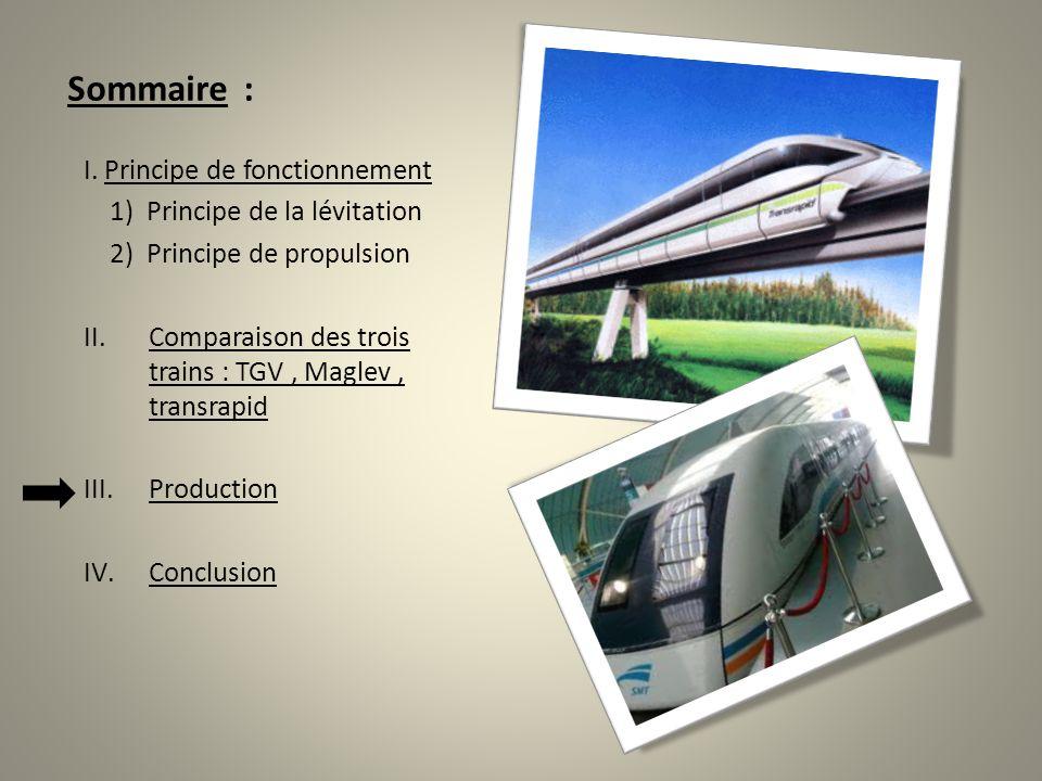 Sommaire : I. Principe de fonctionnement 1) Principe de la lévitation 2) Principe de propulsion II.Comparaison des trois trains : TGV, Maglev, transra